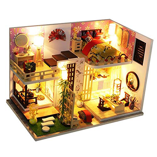 sharprepublic Casa de muñecas Miniatura a Escala 1/24 con Cubierta Antipolvo y Muebles, casa de muñecas Hecha a Mano con luz Led