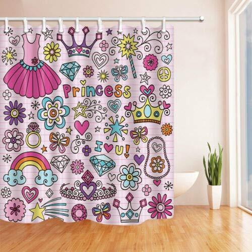 Handgezeichnete Prinzessin Notebook Doodle Duschvorhang Badezimmer Stoff und 12Hooks neu