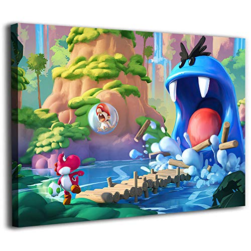 Canvas Pictures Diamond Painting Super Mario Yoshi Island Concept Art Posters Room Decor 24x18inch
