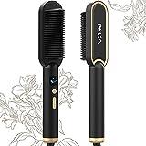 Hair Straightener Brush, IEKA Ceramic Ionic Hair Straightening Brush Fast Heating Auto Shut Off &...