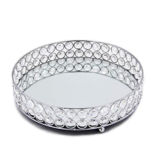 VINCIGANT Kristall Kosmetiktabletts Make-Up Paletten Kosmetikorganiser Silber,...