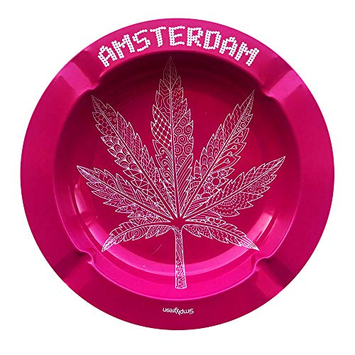 Best Buds Metal Ashtray, Metallaschenbecher, versch. Designs (Pink Weed Leaf)