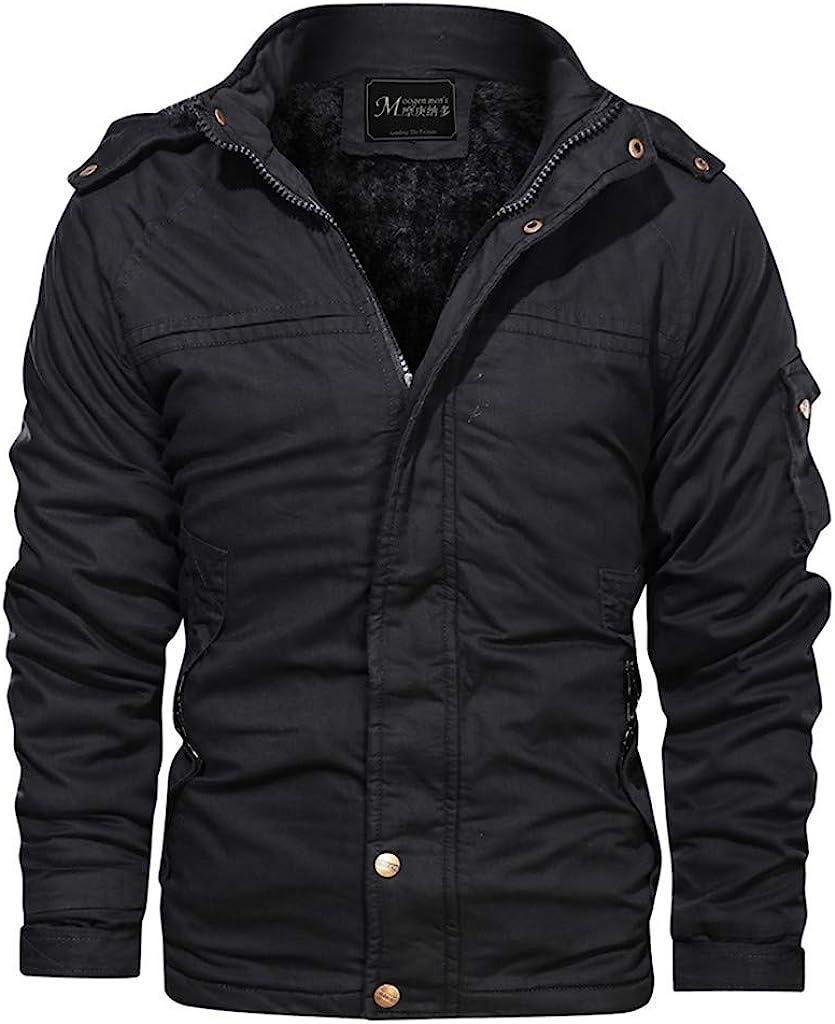 Big Daoroka Mens Autumn Winter Thick Warm Pocket Jacket Coat Pocket Cotton Long Sleeve Outwear Fashion Casual Blouse