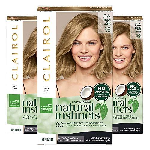 Clairol Natural Instincts Semi-Permanent, 8A Medium Cool Blonde, Linen, 3 Count Clairol
