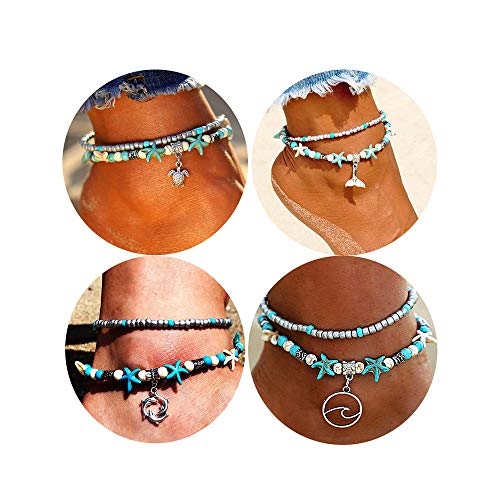 Dremcoue Blue Starfish Beach Turtle Anklet for Women Girls Boho Handmade Adjustable Beads Ankle Bracelet Foot Jewelry for Summer 3-4 pcs