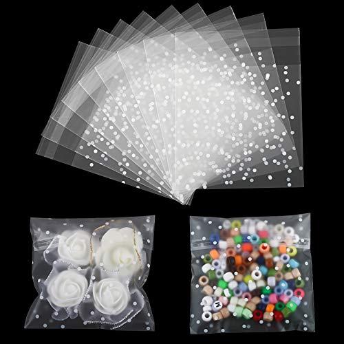 200pcs(14 * 14cm) Bolsas de Plástico Transparente Pequeñas Autodhesiva Bolsas OPP con Cierre Autocierre Galletas Chuches Caramelo Regalos de Boda Fiesta (14 x 14+3cm)
