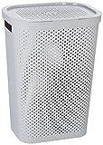 Curver 231008 - Cesta de ropa Infinity, 59 L, con asas, color gris y dots
