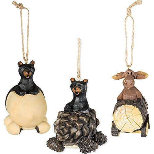 Slifka Sales Co. Bear & Moose Driving Ornaments 3 Piece Decorative Set
