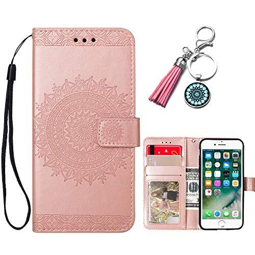 Ancase Custodia Portafoglio per Apple iPhone 5 5S SE Mandala Fiore Flip Cover in Pelle aLibro Wallet Case Porta Carte per Donna Ragazza Uomo - Oro Rosa