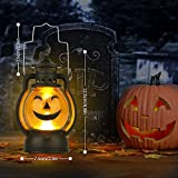 Kürbis Licht, 3 Stück Halloween Laterne mit LED Kerze, Kürbis Laterne Teelichter Batterie LED Kürbis Licht Vintage Laterne Nachtlicht Tragbare Kürbis Lichter für Halloween Deko - 2