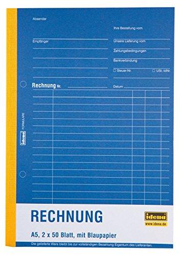 Idena 314257 - Rechnungsbuch DIN A5, selbstdurchschreibend, mit Blaupapier