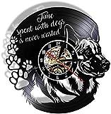 BBNNN Vinyl Wanduhr Verbringen Sie Zeit mit Hunden Verschwenden Sie nie Hund Porträt Wandbild Vinyl Rhodos Wanduhr Hundesprache Home Decor Hundeliebhaber Geschenke