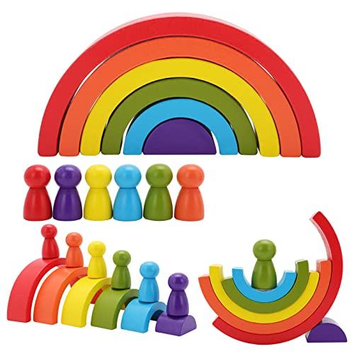 CYKJ Bloques de apilamiento del Edificio del Arco Iris de Madera 12pc Baby Snowdler Montessori Regalo de Juguete