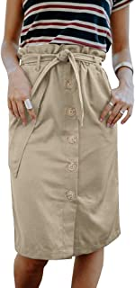Womens High Waist Button Up Skirt Belted Knee Length Midi Ruffle Waist Pencil Slim Fit Work Casual Cotton Skirts