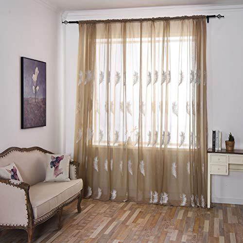 2 Panels Voile Vorhänge Feder Bestickt Transparent Vorhang Home Decor Schöne Gardinen Fensterdekorationen für Schlafzimmer Wohnzimmer Kinderzimmer,Brown,200x270cm