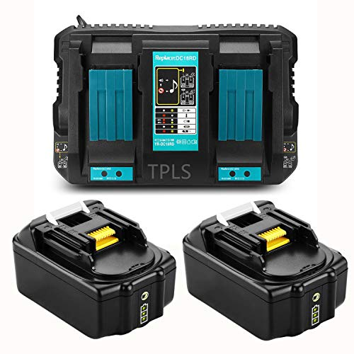 TPLS 2 Stück 18V 5,0Ah Li-ion Ersatz Akku mit Doppel Ladegerät 4A Schnell-Ladegerät für Makita akku 18V 194205-3 194309-1 LXT400 BL1850B BL1840B BL1830B BL1860B Werkzeugakku