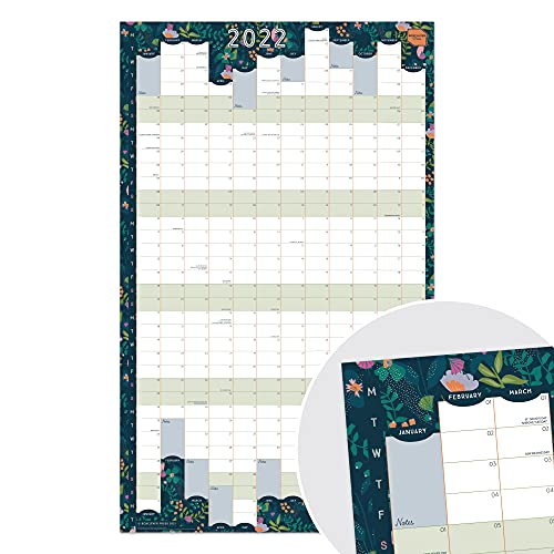 Boxclever Press Wall Planner 2022 (Portrait Layout). Stunning 2022 Year Planner runs Jan'22 – Dec'22. 2022 Wall Planner for Home, Study or Work plans. Laminated Planner 2022 – 43 x 70cm