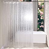 Addmluck Duschvorhang Anti-Schimmel Transparent 3D Kubisch Eva Wasserdicht Antibakteriell Vorhang für Dusche & Badewanne mit 12 Duschvorhangringen(183x200cm,Weiß)