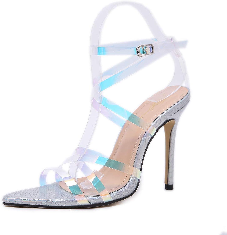MKHDD Frauen Sandalen Bunte Schne PVC Material Schnalle High Heel Sandalen Party Hochzeit Schuhe