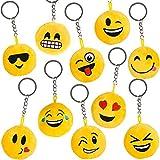 German Trendseller - 12 x emoji porte-clés en peluche┃drole smiley ┃pendentif┃ émoticons ┃l'anniversaire d'enfant┃ extra pelucheux┃ petit cadeau