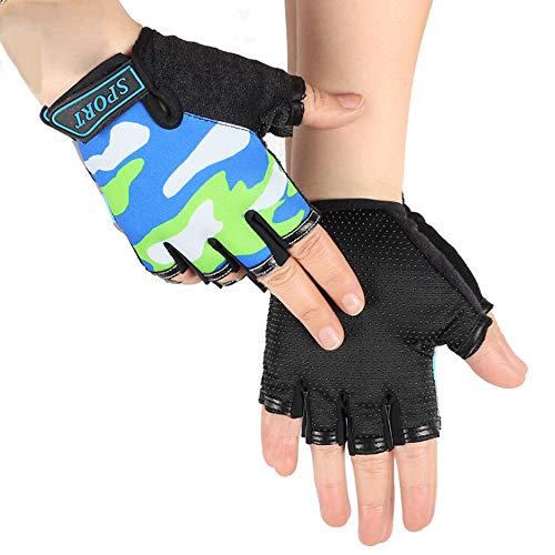 IPENNY - Guantes de ciclismo para niños y niñas, guantes de medio dedo, guantes de deporte para gimnasio, guantes de carreras