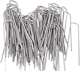AAGUT Garden Staples Galvanized Landscape Sod Stakes, 100 Pack 6 Inch 11 Gauge Steel Lawn U Pins Pegs-Securing Ground Cover,White