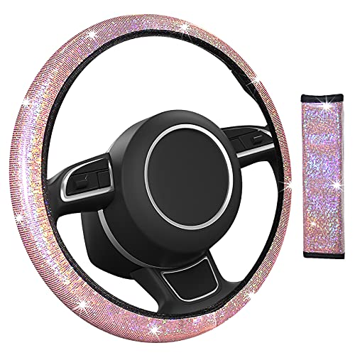 MIKKUPPA Bling Steering Wheel Cover - Universal 14.5 to 15 inch with Seat Belt Shoulder Pad, Fit Vehicles, Sedans, SUVs, Vans, Trucks for Women and Girls - Pink