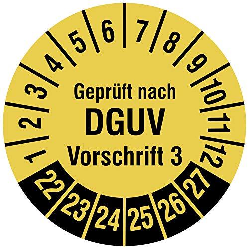 Labelident Mehrjahresprüfplakette 2022-2027 - Geprüft nach DGUV Vorschrift 3 - Ø 20 mm, 500 widerstandsfähige Prüfplaketten auf Rolle, Vinyl, signalgelb, selbstklebend