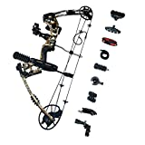SHARROW Kit Arco Compound 30-70lbs 320FPS Arco da Caccia per Destrorsi Mirino a 5 Pin (Camo)