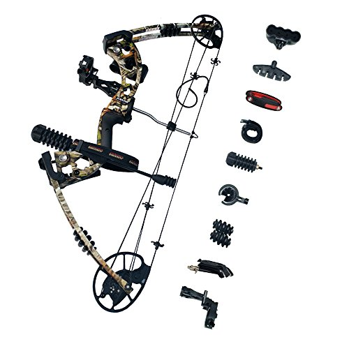 SHARROW Kit Arco Compound 30-70lbs 320FPS Arco da Caccia per Destrorsi Mirino a 5 Pin (Camo)