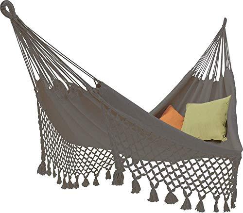 amaca ecomundy ECOMUNDY ROMANCE L 320 - Amaca da giardino grigio solido con frangia di altissima qualità - Cotone BIO - GOTS - 130x200x320cm