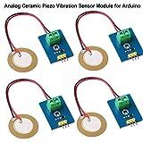 Innovateking-EU 4 unids analógico de cerámica piezoeléctrico Sensor de vibración del módulo 3.3 V / 5 V para Arduino DIY Kit