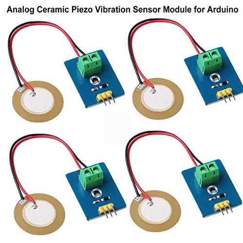 Innovateking-EU 4pcs Analog Piezoelectric Ceramic Vibration Sensor Module 3.3V/5V for Arduino DIY Kit,Can Sense The Strength Of Vibration And Pressure