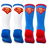 Superman Youth 2 Pack Athletic Socks, Superman Blue/White, M/L (SockSize 9-11)