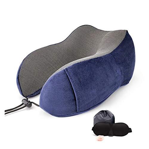 Ldssm Almohada de Memoria de Memoria en Forma de U suavidad y Lenta Espacio de Rebote de Viaje Almohada sólido Cuello Cervical Salud de Ropa de Cama reposa Cabezas para Coche (Color : Deep Blue Set)