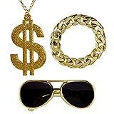NET TOYS Rapper Kostüm-Set mit Goldkette, Armband & Sonnenbrille - Gold - Angesagte Herren-Accessoires Hip-Hop Gangster - Bestens geeignet für Mottoparty & Fasching