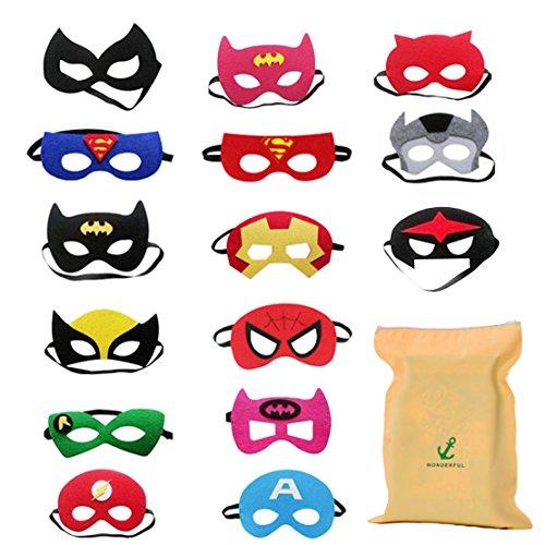 Forwin 15 Superhelden Masken Superhero Party Kinder Masken Gastgeschenke für Cosplay Party Masquerade im Alter