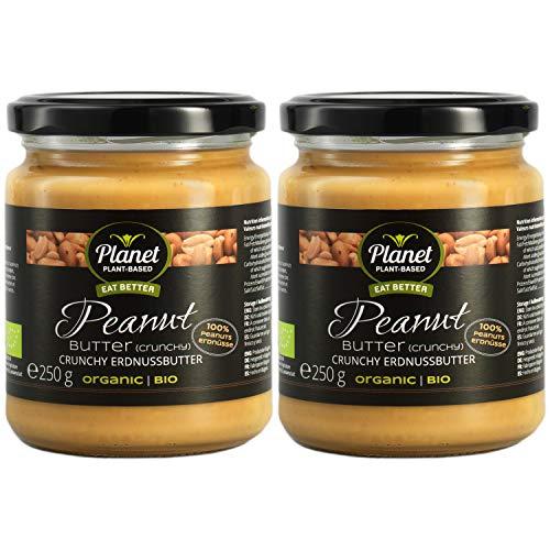 Planet Plant-Based Erdnussbutter (crunchy) 2 pack - (2x 250gr) - aus 100% leicht gerösteten Erdnüssen- super cremig mit crunchy Erdnuss stücken - vegan, bio, glutenfrei