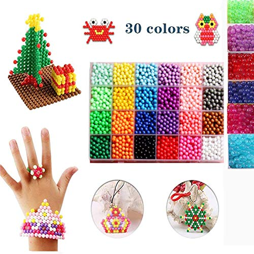 Water Fuse Beads 3600 Beads 30 Colors Water Sticky Beads Kit with Spray Bottle, Candy Key Ring, Storage Box accessiores, Toy Water Mist Magic Beads Set for Children DIY Arts and Craft