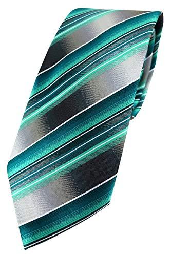 TigerTie Designer Krawatte in grün dunkelgrün silber anthrazit grau gestreift