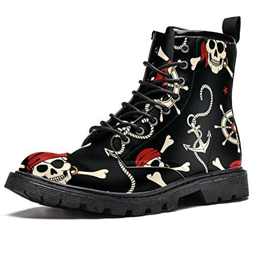 Botas de invierno con estampado de calavera pirata y ancla para mujeres y niñas, botas de nieve cálidas con parte superior alta de tobillo con cordones para la escuela, color Multicolor, talla 37.5 EU
