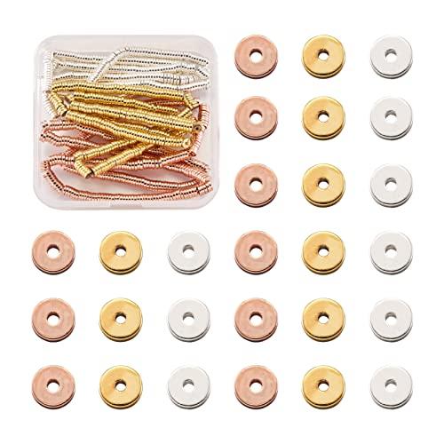 Cheriswelry 3 hilos de 4 mm planos redondos de metal Heishi cuentas disco moneda electrochapada no magnética de hematita sintético heands para hacer pulseras de joyería DIY