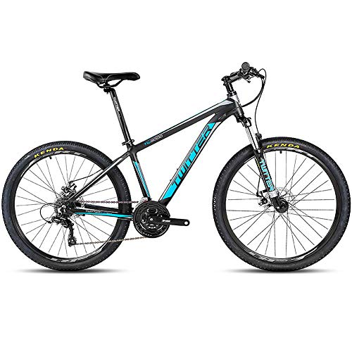 BQSWYD Mountain Bike per Adulto con Forcella Ammortizzata/Doppio Freno a Disco, 26 MT da 27,5 Pollici Full Suspension Mountain Bike con 21 velocità per Mountain Bike Fuoristrada,Blu,26 * 17