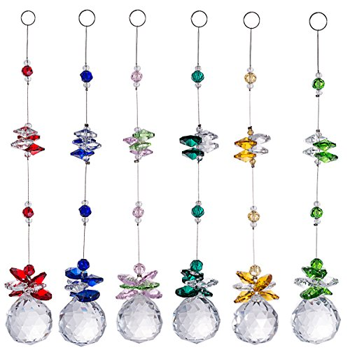 Colorful Crystal Ball Pendant Chandelier Decor Hanging Prism Ornaments,Feng Shui Faceted Ball,Chandelier Crystals Ball Rainbow Suncatcher Prisms,pink,red,green,yellow,blue,sky blue (pack of 6))