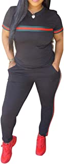 Women 2 Pieces Outfits Short Sleeve Top and Long Pants Sweatsuits Set Tracksuits
