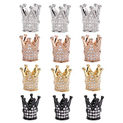 Trycooling 12 piezas King Corona espaciador cuentas colgantes creativos circonitas cúbicas Pave Charm Beads para joyería hendiduras color mixto