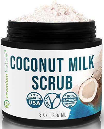 Kokos Körperpeeling Coconut Body Scrub - Premium Nature Kokosnuss Peeling Haut Körper & Gesicht mit Totes Meer Salz & Shea Butter Akne & Cellulite Gesichtspeeling Lippenpeeling Duschpeeling