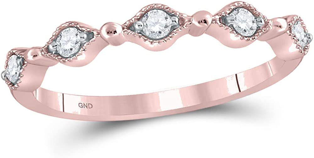 10K Rose Ranking TOP2 Gold Womens Round Diamond Stackable 1 Ring Inexpensive Band Contour