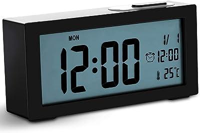 Jcobay Wecker Nachttisch geräuschlos, batteriebetrieben, Digitale Uhr großen Display Zeit Temperatur einstellbar Hintergrundbeleuchtung mit Snooze Light Funktion für Home Schwarz