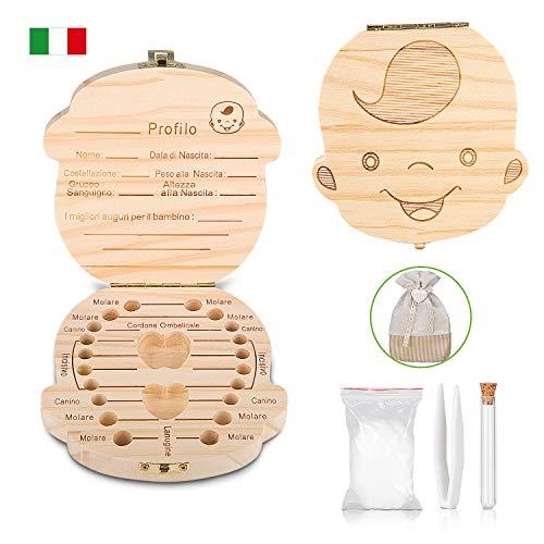 Tanden Box - Uiter Baby Tanden Box Save Organizer Houten Tand Keepsake Box voor Jongens